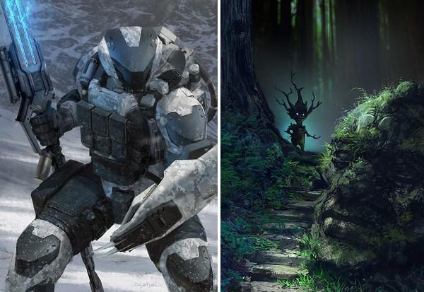 personnages inspirants écriture sfff : alien en armure et être de la forêt