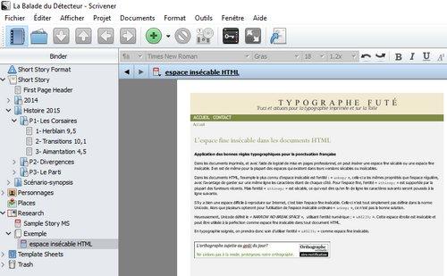 Scrivener sauvegarde de pages web