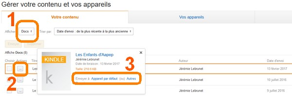 livrer un document personnel sur ses appareils et applications Kindle