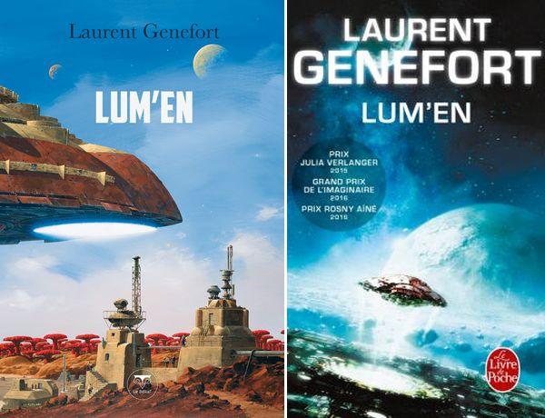 Les deux couvertures de Lum'en de Laurent Genefort : Manchu illustre pour Le Bélial