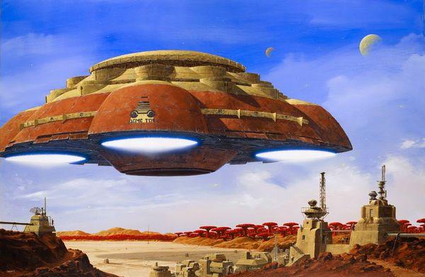 Lum'en : vaisseau spatial de colonisation de la DemeTer arrivant au spatioport de Garance