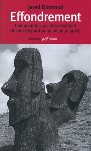 Couverture de Effondrement de Jared Diamond avec la disparition de la civilisation de l'île de Pâques